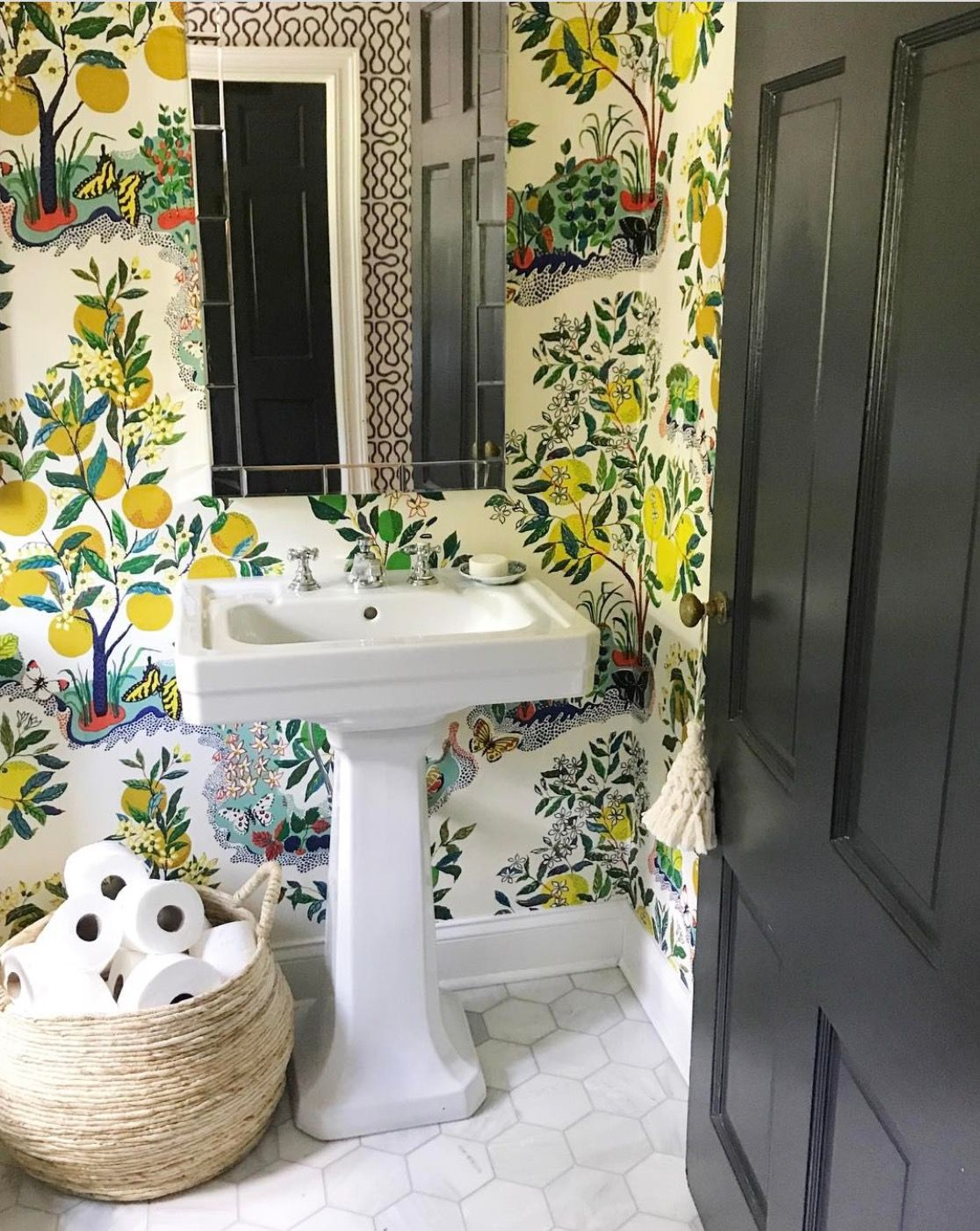 this powder room! With Schumacher's Citrus Gardren