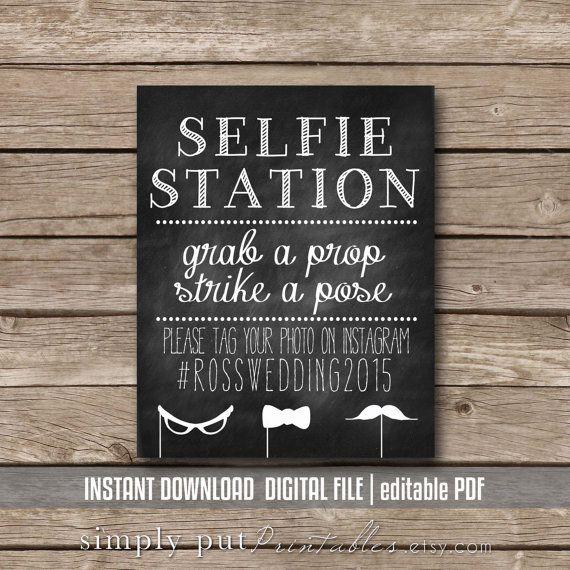 Selfie Station Photo Booth Chalkboard Sign Printable Grab