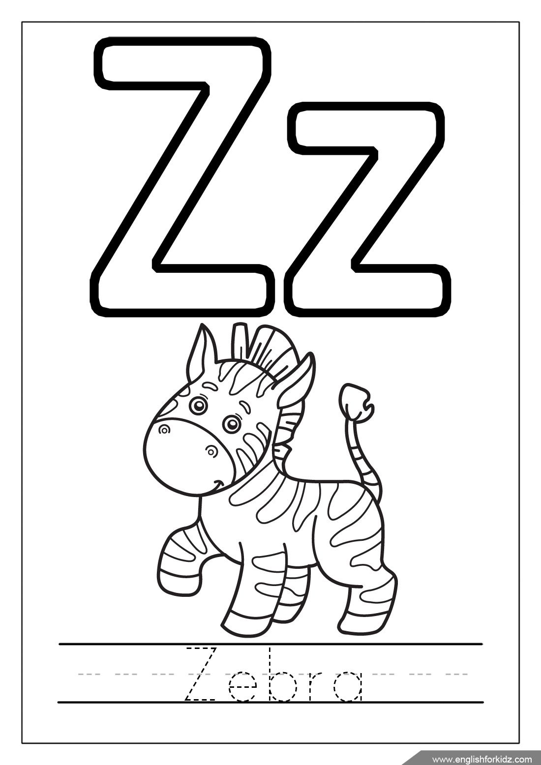 Alphabet Coloring Page Letter Z Zebra English