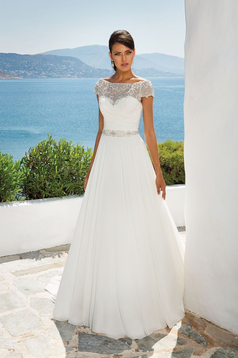 c51abb9ee9e Justin Alexander - Style 8799  Chiffon Ball Gown with Beaded Portrait  Neckline