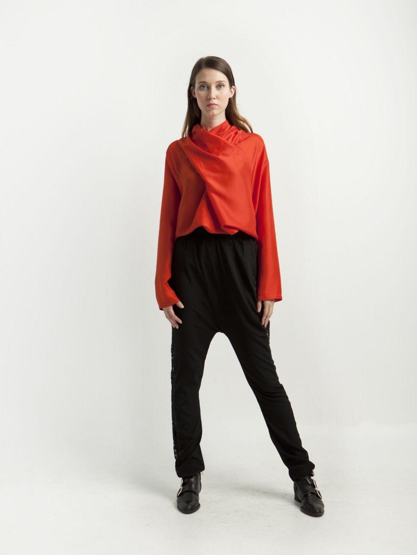Now: 108€ Maria Roch T-shirt -Camisa manga larga cuello drapeado