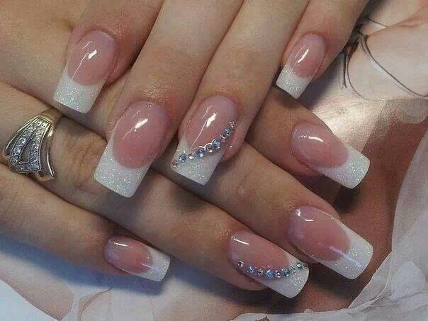 French Tips Glitter Rhinestones Nails Pinterest Manicure