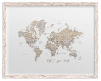 Lets get lost world map watercolor with cities rustic frame lets get lost world map watercolor with cities rustic frame gumiabroncs Choice Image