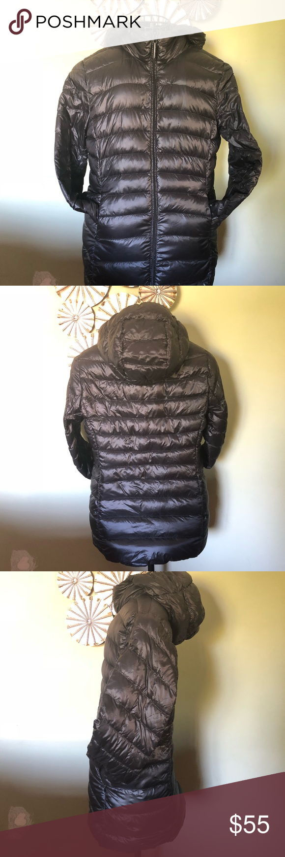 UNIQLO Black Light Down Hooded Puffer Jacket Sz L Uniqlo