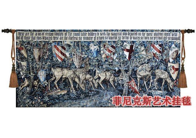 Hot - vente classique tapisserie médiévale conçoit le saint graal série - cerfs et bouclier accueil murale décorative textile