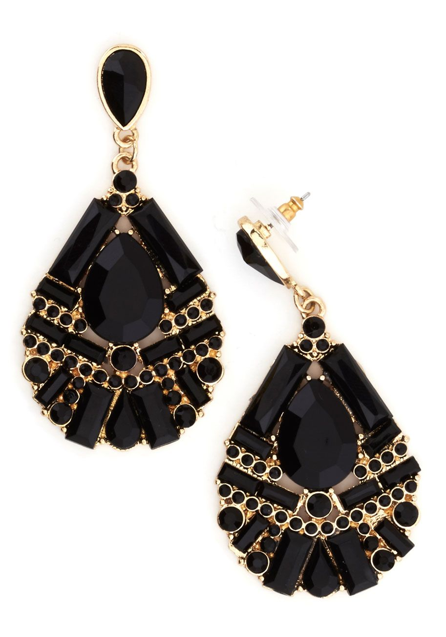 e8aba0a9b Black and gold tear drop stone earrings #wedding #gold #goldblack #jewelry # earrings   Gold & Black Wedding in 2019   Jewelry, Black drop earrings, ...