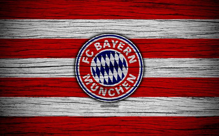 Herunterladen hintergrundbild bayern münchen, 4k, bundesliga, logo, deutschland, holz-textur, fc ...