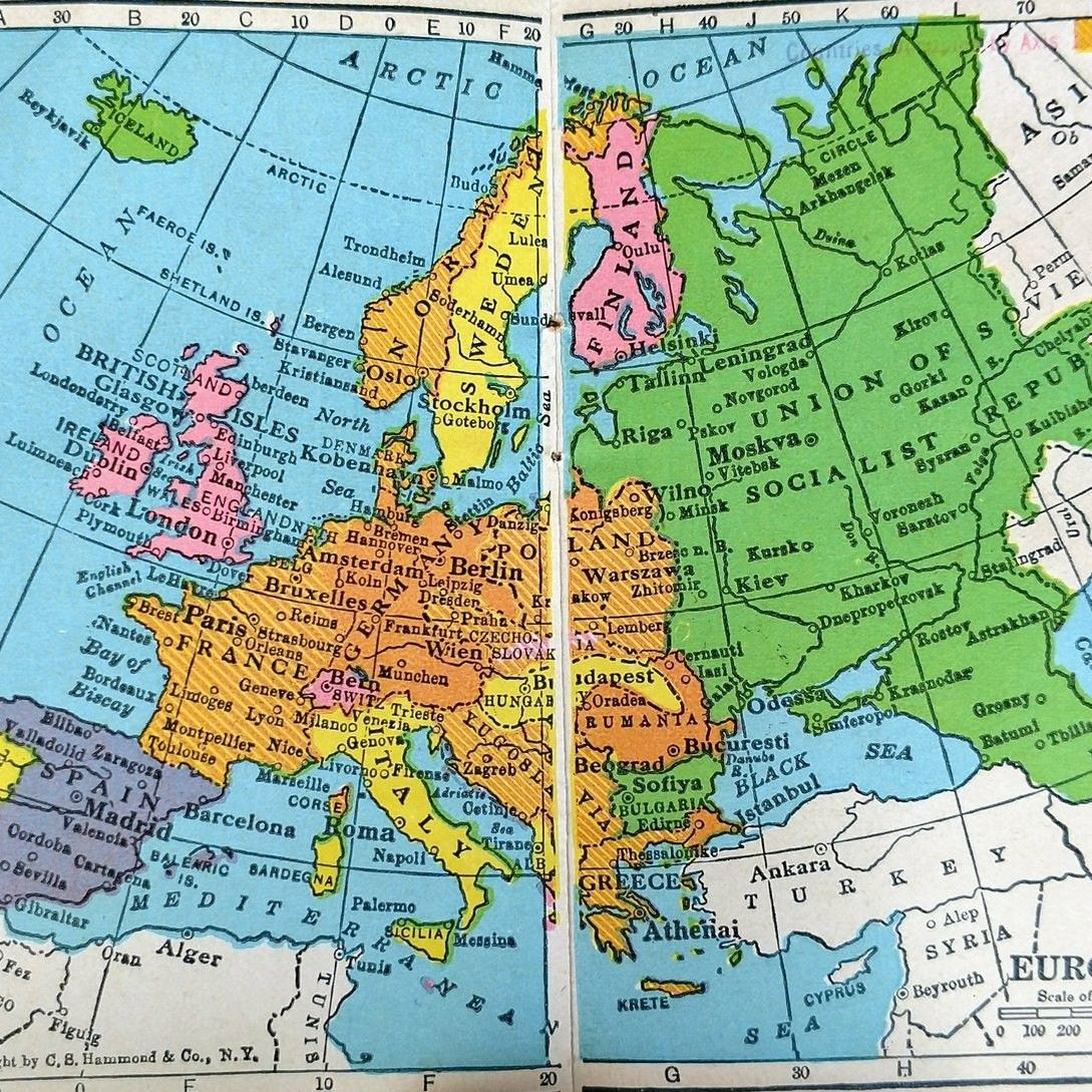 Delightful Great Pocket Map Of Europe During WWII Commonly Given To Americans As  Company Advertising. Pocket