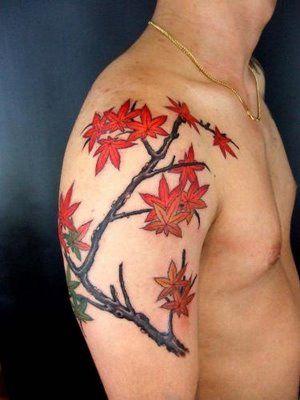 maple leaves on shoulder
