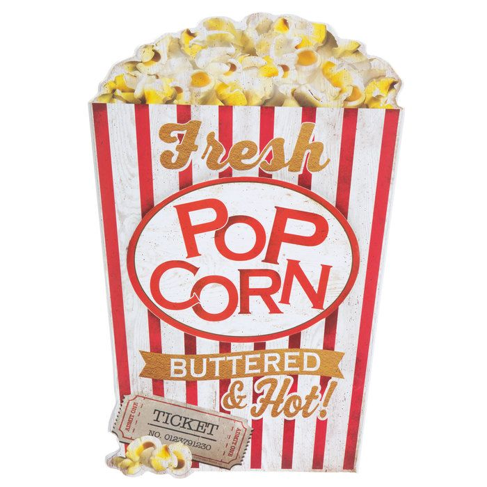 Hot Buttered Popcorn Wood Wall Decor   Movie theater room ...