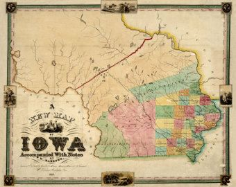 1845 Map Of Iowa Historic Print America History Nice Detail