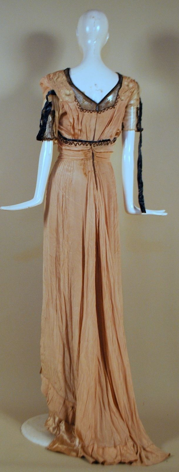 Edwardian hand emb silk gown w flowing train s pinterest
