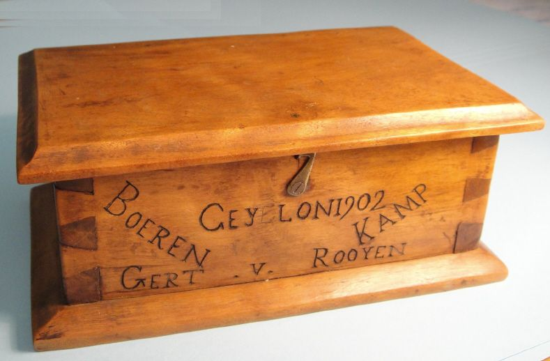 P O W Boer War Art Wooden Box Miniature Shoes By Gert Van Rooyen Boerenkamp Ceylon 1902 Wooden Boxes Miniatures War
