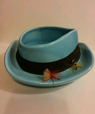 Vintage Blue Fedora Napco Ceramic Fly Fishing Hat Candy Dish