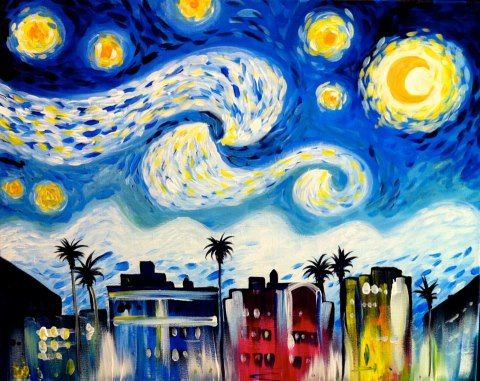 South Beach - Painting with a Twist (I would place the emphasis on the buildings and not the Van Gogh sky).