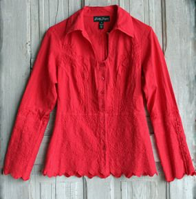 Gretty Zueger 100% Cotton Long Sleeve Button Front Blouse-Cherry Red