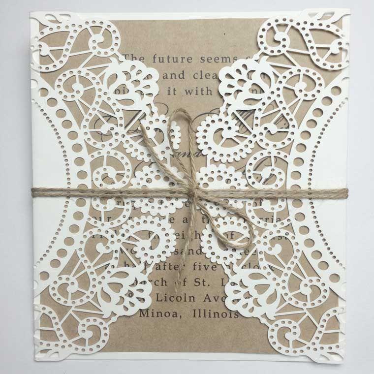 Rustic Gate Fold Laser Cut Wedding Invitation with String Bowknot ...