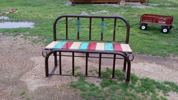 Antique Wrought Iron Bed Repurposed Into An Outdoor Rocker Bench .