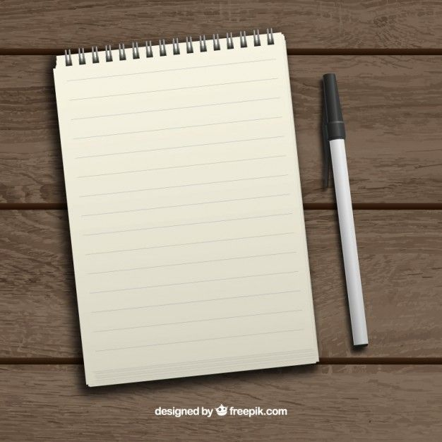 Vector realistic notebook and pen Free Backgrounds Pinterest