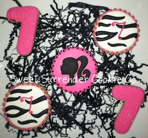 Modern Barbie Zebra Stripe Decorated Sugar Cookies 1 by SSCookieCo, $30.00