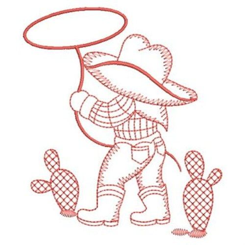 Sweet Heirloom Embroidery Design: Redwork Roper Cowboy 3.82 inches H x 3.29 inches W