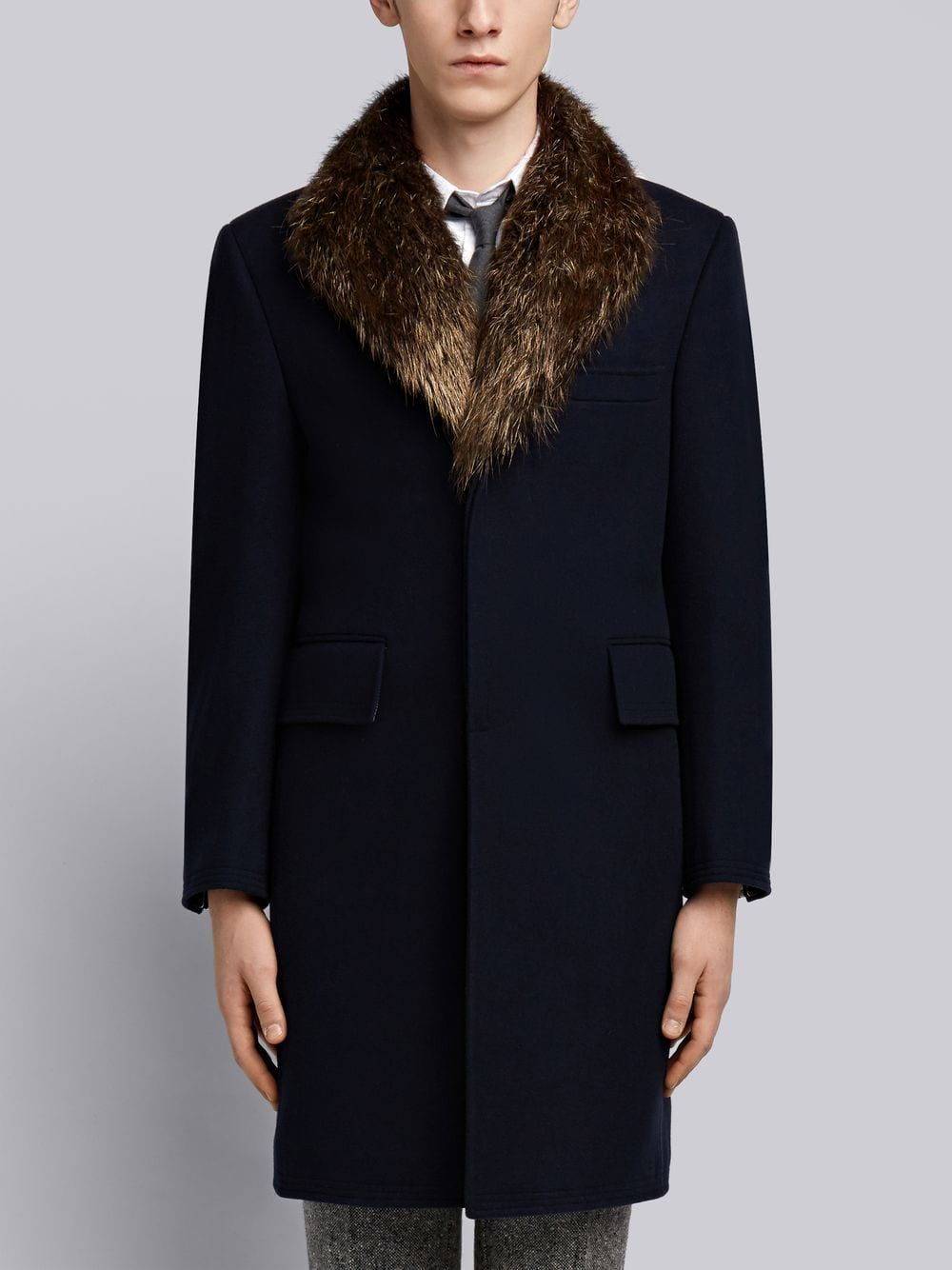 843bf545a009 THOM BROWNE THOM BROWNE DETACHABLE GOLD BEAVER COLLAR MELTON WOOL  CHESTERFIELD OVERCOAT.  thombrowne  cloth
