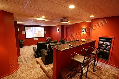 basement home theater design. Spacements  Inc provided the basement design remodeling for this finished with a spacious home theater in Chester County PA Finished Basement Design and Remodeling Projects by