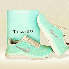 2015 Tiffany Blue Nikes 3.0 v4 Free Runs Shoes Swarovski Bling Tick Shoes 2015 - Click Image to Close