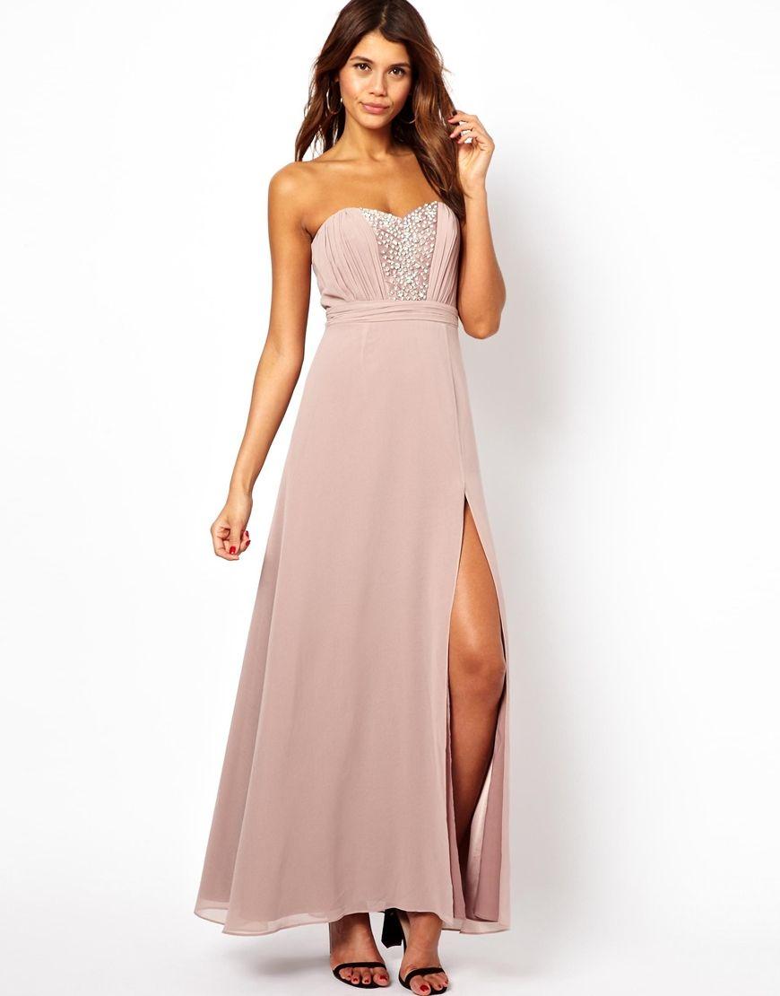 Lipsy VIP Bandeau Maxi Dress with Embellished Bust | Fashion ...