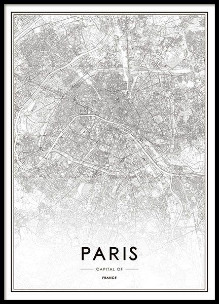 schwarz wei poster mit eleganter und detaillierter karte von paris das motiv kommt im leichten. Black Bedroom Furniture Sets. Home Design Ideas