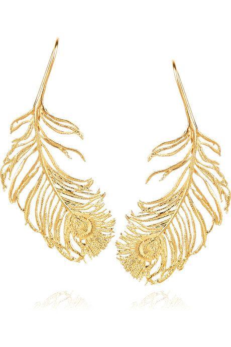 Errings Alex Monroe Earrings Have A Hook To Fasten Ear 22 Karat Gold Feather