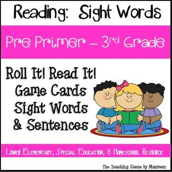 Photo of Pre-Primer – 3rd Grade Sight Word Read It! Roll It! Words & Sentences Game Cards