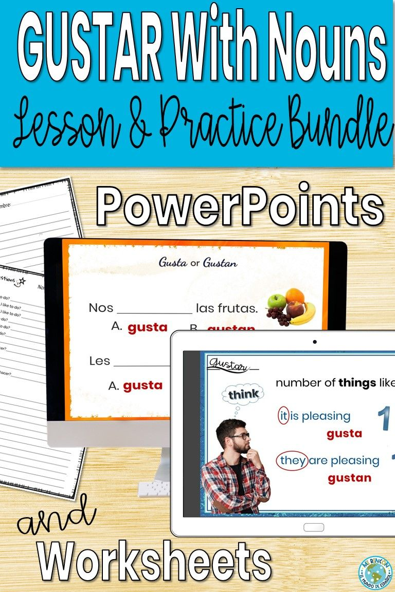 Spanish Gustar With Nouns Lesson And Practice Bundle Distance Learning Nouns Lesson Powerpoint Lesson Nouns [ 1152 x 768 Pixel ]