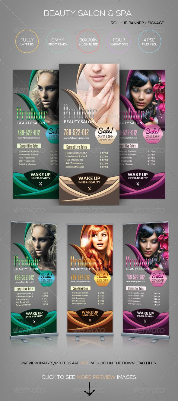Beauty Salon \ Spa - Roll-Up Banner Template Banner template - hair salon flyer template