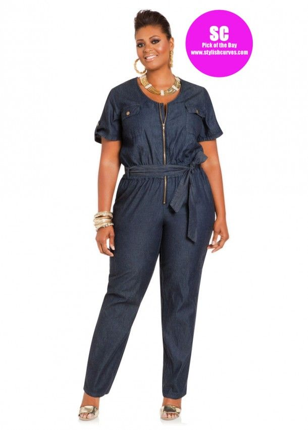 Pick Of The Day Ashley Stewart Denim Jumpsuit Were Cute Too