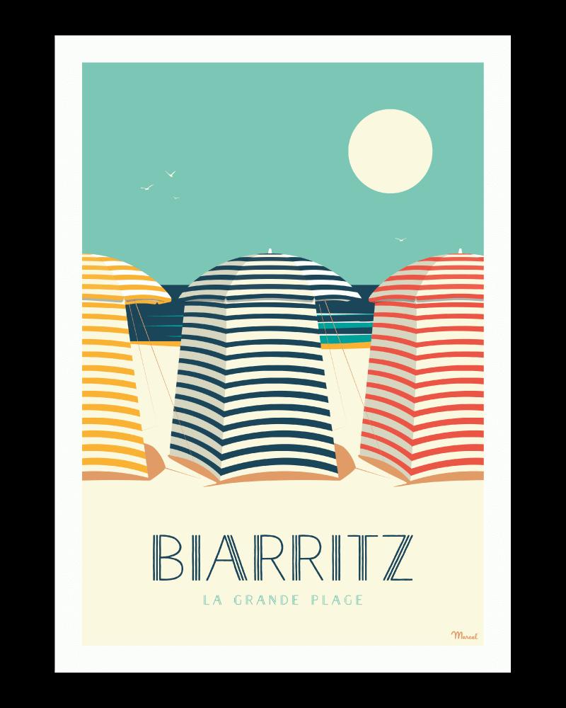 Affiche 50x70 Marcel Biarritz Les Tentes Taille 50 Cm X 70 Cm Biarritz Plage Biarritz Dessin De Plage