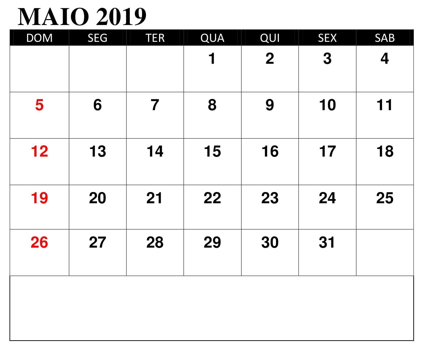 Calendario 2019 Imprimir Notas Maio Calendario Maio Imprimir Maio