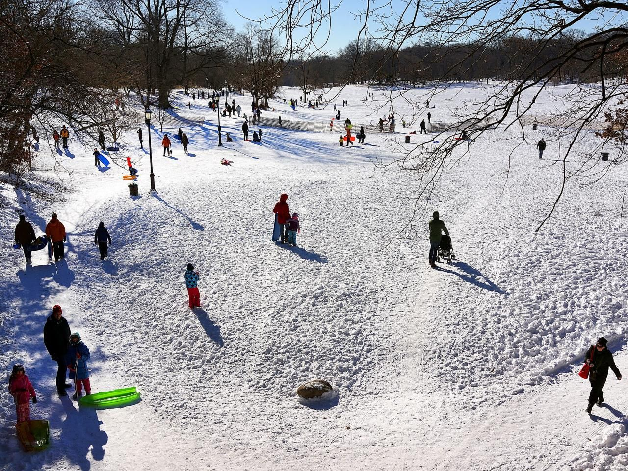 If weather trends stay on course for New York City, you'll want to prepare yourself for some major snow this holiday season. Take advantage of the wintery weather and join the fun at any of the dozen local parks for some sledding! Prospect Park in Brooklyn (pictured here) or Central Park in Manhattan are classic locations to enjoy some slip-sliding fun.