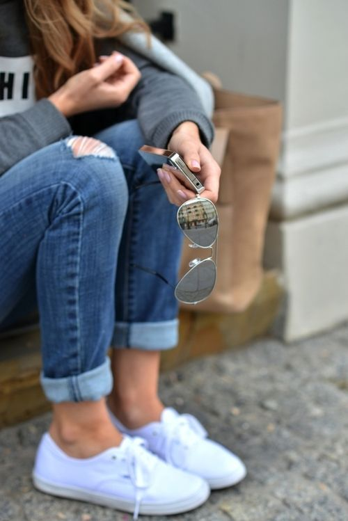 white vans shoes with jeans
