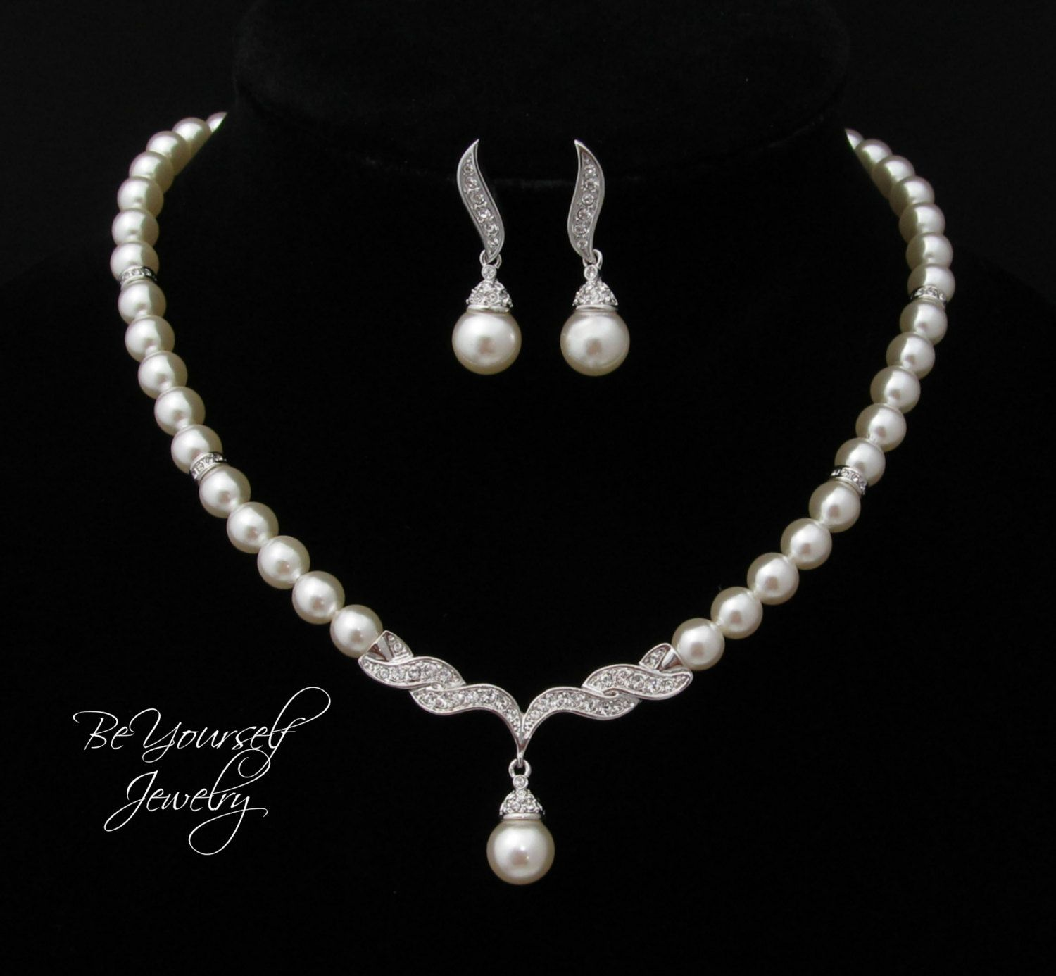 Pearl Bridal Necklace And Earring Set Single By Beyourselfjewelry 49 99