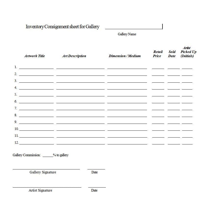 Artist and gallery contracts art business Pinterest - consignment inventory agreement template