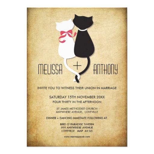 Funny Cat Couple Wedding Invite #cats #wedding
