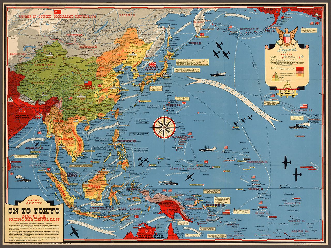 1944 Wwii Asia Pacific Theater Map Wall Print Ideas Pacific