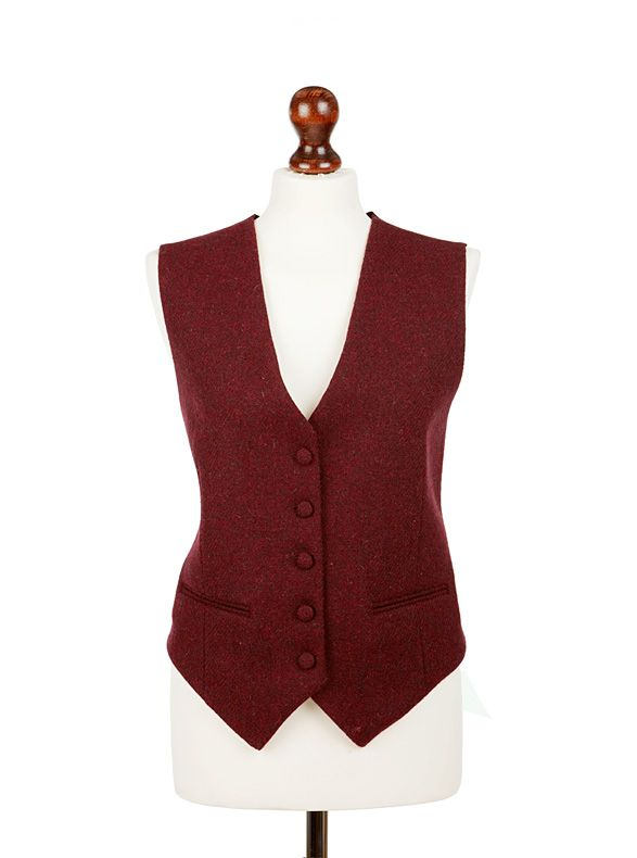 Ladies classic tweed. Tailored waistcoats emphasize an hourglass figure whilst providing plenty of warmth (and some tummy cover).