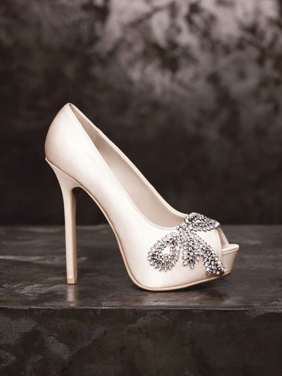 8b2cd6cf7 Perfect wedding shoes white with a crystal bow! Ahh I love these! I would  wear them even outside of a wedding! (