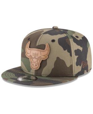 low priced 43f89 15c09 New Era Chicago Bulls Camo 9FIFTY Snapback Cap - Green Adjustable