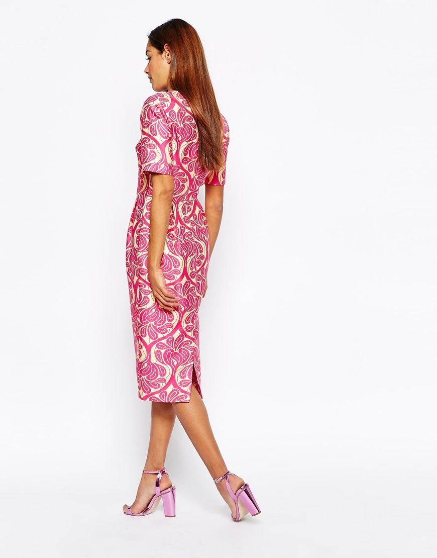 Image 2 ofASOS Jacquard Wiggle Dress