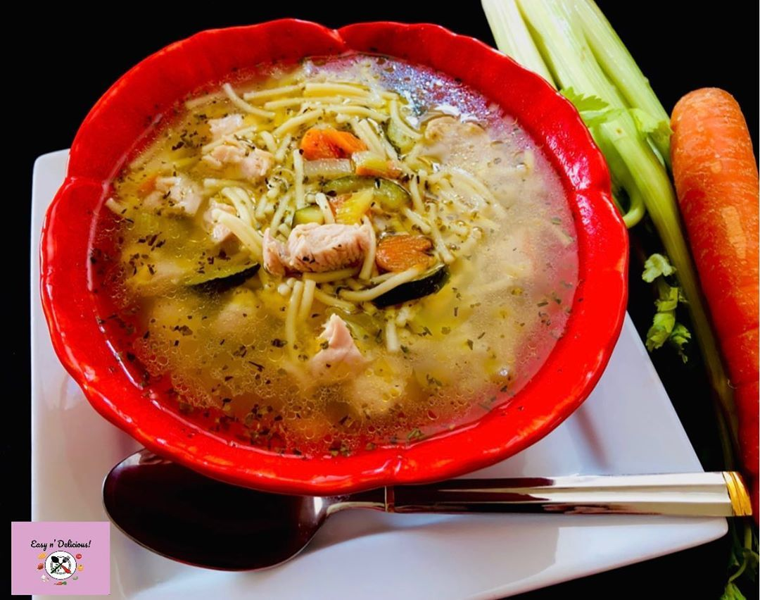 Chicken noodle soup!  As the weather grows colder, the warmth of a bowl of homemade chicken noodle soup is so welcome and satisfying! I have added celery, carrots, zucchini for the added taste! . . .