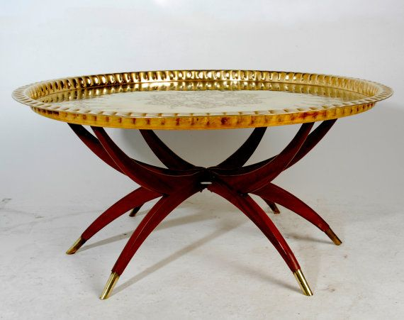 Vintage Moroccan Brass Tray Coffee Table By Revolverseattle