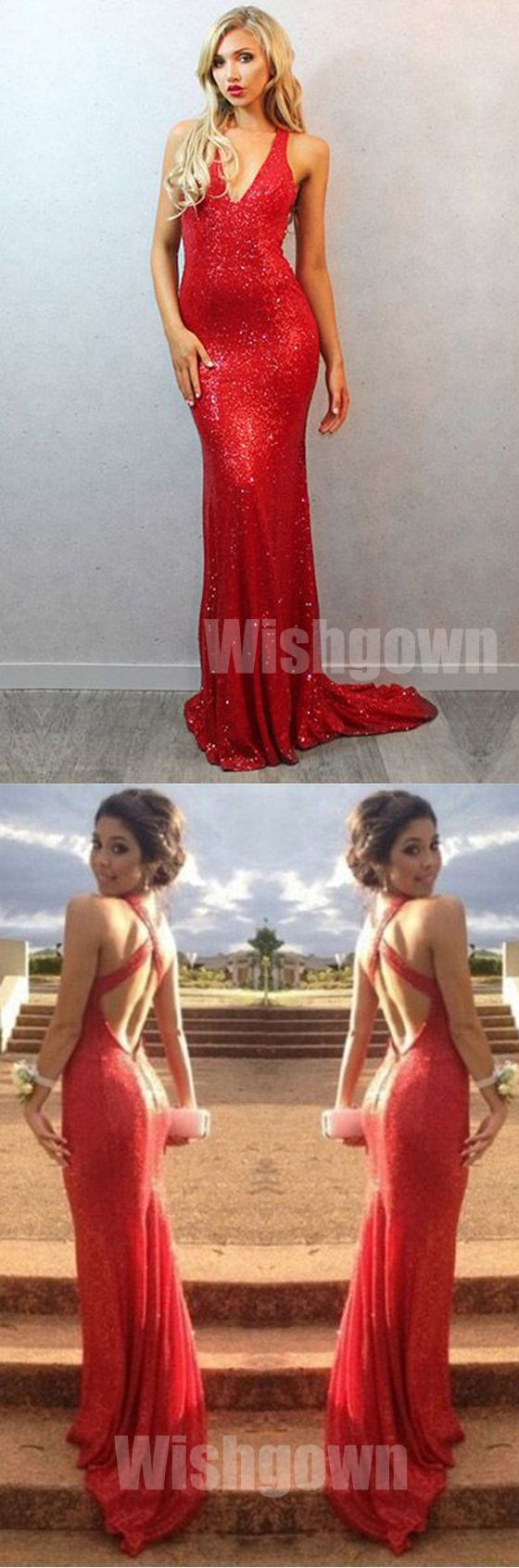 Backless mermaid red sequin cheap long bridesmaid dress prom dress